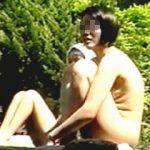 【盗撮】野外公開ストリップ状態で白昼堂々露天風呂を楽しんでる全裸淑女たち♪