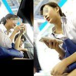 【盗撮】超高校級のアダルトな雰囲気を纏った制服女子校生のパンチラを追って路線電車旅♪