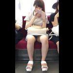 【盗撮動画】電車の対面でユル~い感じでパンチラしてきた通勤途中のOLさんに猛アタック♪