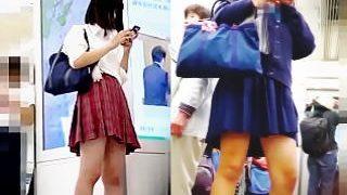 【盗撮動画】春の選抜制服JKパンチラ選手権!赤チェミニスカJK vs 紺ミニスカJK♪