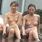 【盗撮】会社の保養所にある露天風呂で部下の女子社員と入浴中のキャリアウーマン♪