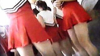 【盗撮動画】大会会場の青空更衣室で視姦されながら大胆に着替えてるJKチアリーダーたち♪