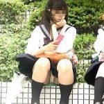 【盗撮動画】風が強い日に座りパンチラ晒して隠し撮りを煽ってる確信犯的な小悪魔女子校生♪