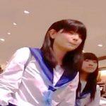 【盗撮動画】大型ショッピングセンターでパンチラ撮り師に粘着された放課後セーラーJKたち♪