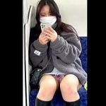 【盗撮動画】電車の対面でスマホ弄りながらトロピカルパンチラ晒してる美人系マスク女子♪
